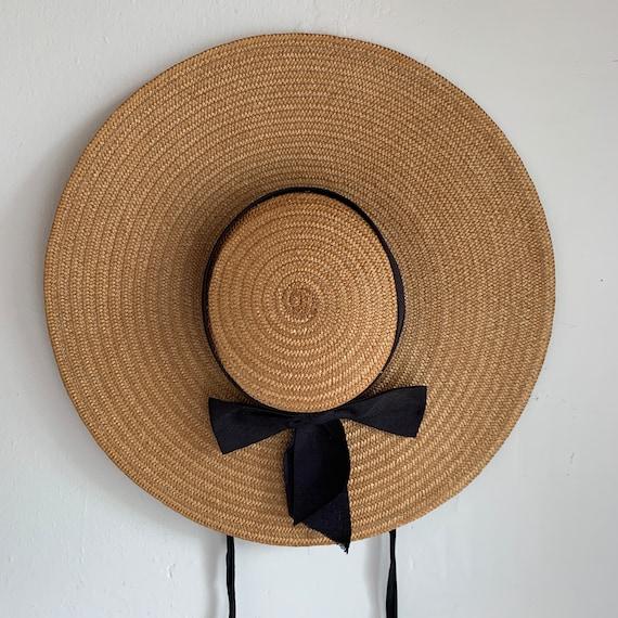 Beautiful 1930s Straw Wide Brimmed Sun Hat 22 Vint
