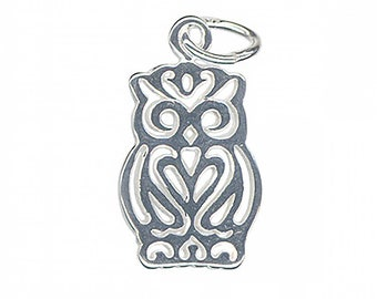 6 Owl charms antique silver tone B306