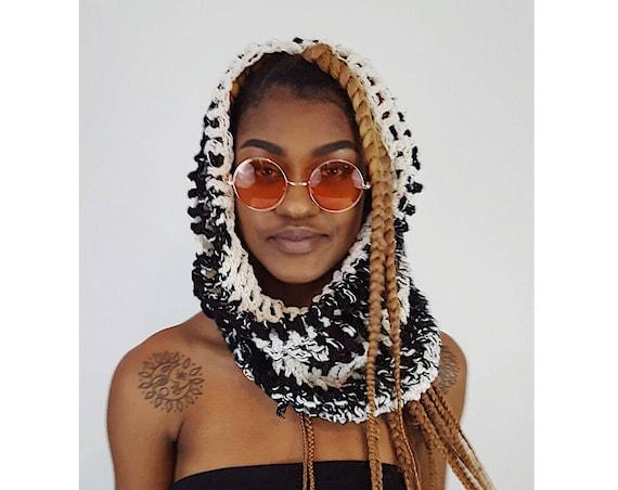 Handknit Handmade Black Gray White Circle Scarf - Boho Hipster Art Fashion Womens Accessory - Soft Warm Fall Upcycled Yarn Womens Cowl Scarf