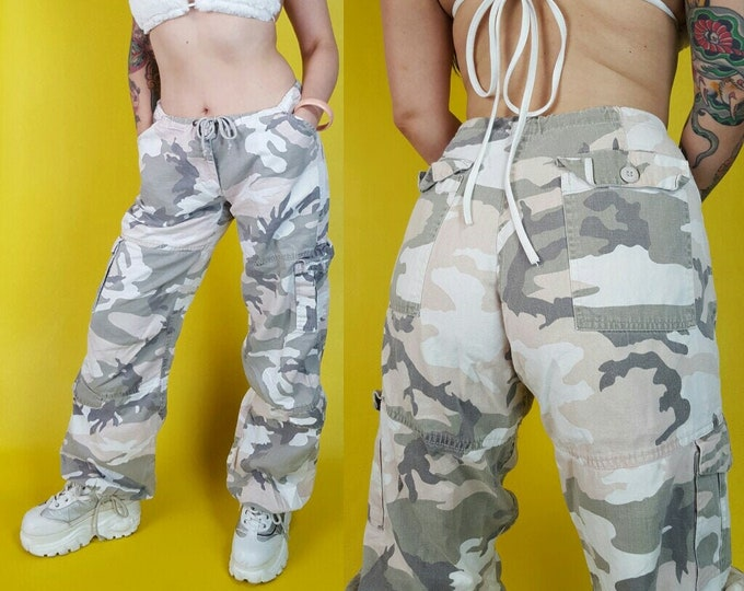 Pink Camo Print Baggy Wide Leg Pants Large - Pastel Pink White Gray Camouflage Army Pants - Oversized Cargo Pants with Extra Pockets