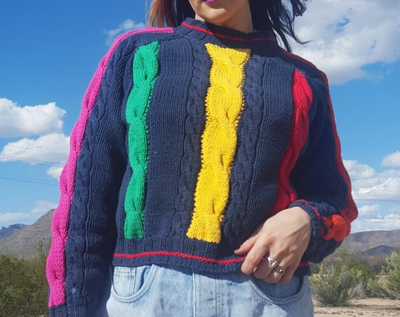 80's Rainbow Stripe Cable Knit Cardigan Small - Colorful Cotton Knitted Stripe Jumper - Vintage Colorblock Knit Womens Navy Blue Pullover