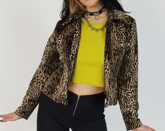 90's Faux Fur TIGER Print Jacket Top Small - 1990s y2k Cropped Zip-Up Coat - Collared Animal Print Coat - Cropped Boxy Hip Length Top