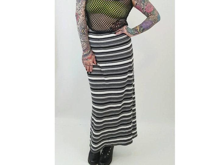 90's Ribbed Striped Midi Skirt Large - High Waist Striped Stretchy Maxi Skirt - Black White Gray Horizontal Stripe Stretch Bodycon Skirt