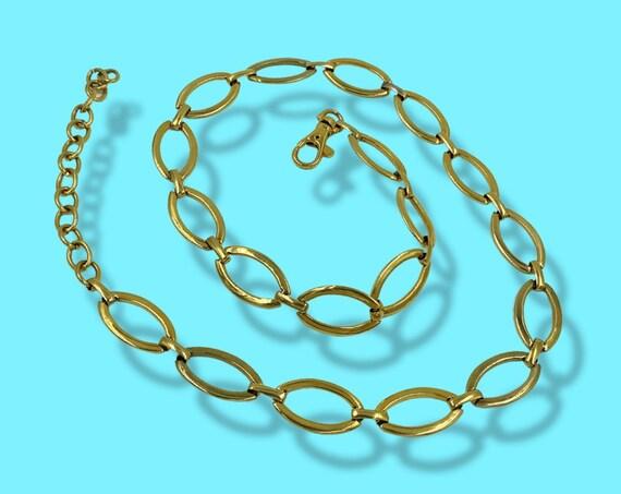 80's Gold Tone Metal Chain Belt - Iconic Metal Chain Link Statement Belt - Adjustable Gold Link Womens Vintage Glam Belt