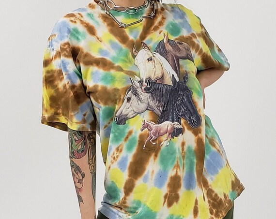 Earth Tones Tiedye Vintage Horse Tee - Large Tie Dyed Colorful Upcycled Vtg Tshirt - Graphic Tie Dye 3 Horses Tee Brown Green Yellow