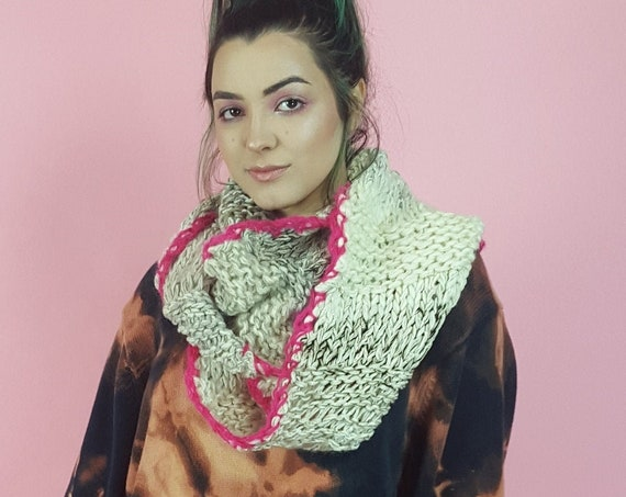 One of a Kind Handknit Long Circle Scarf - Cream and Hot Pink Infinity Loop Scarf - Recycled Yarn Warm Fall Womens Wool Neckwarmer