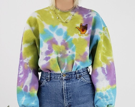 Remade Tie Dye Pullover Sweatshirt - Large Womens Tiedye Sweater with I Love You Embroidery - Pastel Dyed Baggy Longsleeve Unisex Top L