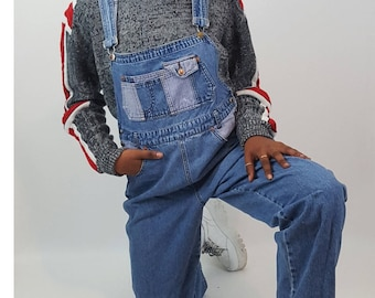 90's Vintage Denim Two Toned Overalls Large - Blue Jean Overall Pants with Plaid Color Blocking - Baggy Distressed Fall Womens Jean Overalls