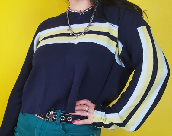 90s Cropped Boxy Slouchy Sweater - Navy Blue Striped Baggy Crop Pullover - Skater Girl Oversized Knitted Acrylic Striped Sleeve Pullover