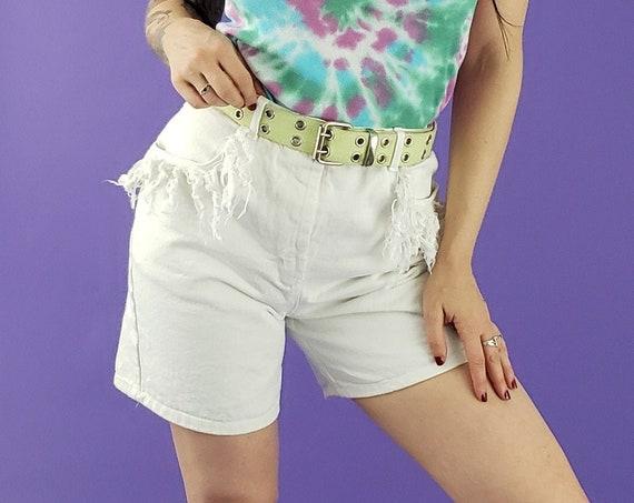 """90's White High Waist Long Jean Shorts Small 27"""" High Waist - Fringed Summer Vintage Denim Size 6 - Vtg Highwaisted Fringe Jean Short NWT"""