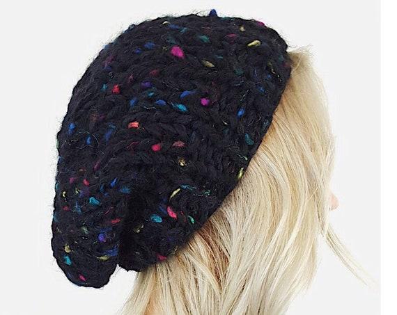 Handknit Handmade Black Rainbow Slouchy Hat -Boho Hipster Fashion Style Unique Womens Accessory - Soft Warm Winter Fall Upcycled Yarn Beanie