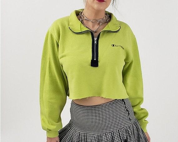 Champion Lime Green Cropped Pullover Sweatshirt - Logo Branding Half-Zip Sweater - Collared Zipper Neck Crop Womens Athletic Sweat Shirt