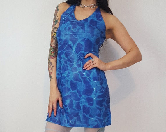 90's Blue Underwater Print Womens Dress Small Medium - Trendy Raver Festival Style - Pool Water Print Stretchy Halter Mini Sundress
