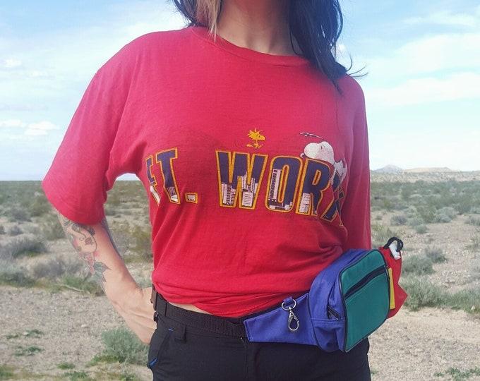 80's Vintage Ft Worth Snoopy Tee - Ultra Soft Thin 1980s Grunge T-shirt - Extra Large Mens Women's Unisex Short Sleeve Shirt