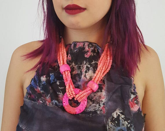 Hot Pink 80s Beaded Necklace - Womens Vintage 1980s Chunky Jewelry Accessory - Neon Pop Color Multi Layer Beads Statement Necklace