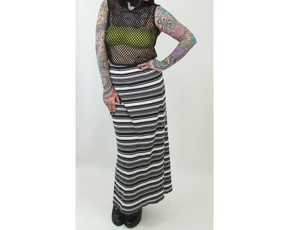 90's Vintage Striped Midi Skirt - Large High Waist Stripe Stretchy Maxi Long Skirt - Black White Gray Stripes Stretch Bodycon Skirt