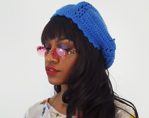 Handknit Handmade Blue Beret Hat - 70s Boho Hipster Art Fashion Style Unique Womens Accessory Soft Warm Winter Fall Hand Crochet Beanie