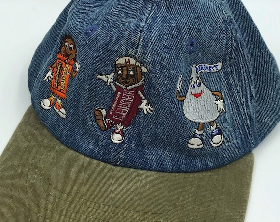 90's Denim Hershey's Chocolate Vintage Hat - Denim Embroidered Baseball Cap with Candy Characters  - Adjustable Back Denim Unisex Accessory