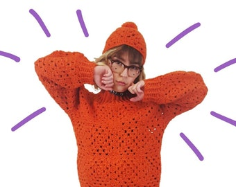 60s-70s Two Piece Wool Crochet Sweater + Cap - Small Orange Granny Square Sweater Top - Fall 2 Pc Set Coordinates Retro Beanie Beret Hat Tam