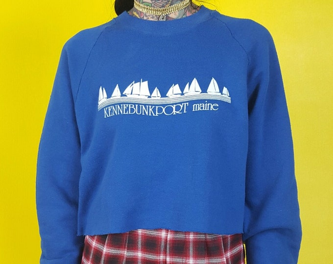 80s Vintage Cropped Pullover Sweatshirt Large XL - Kennebunkport Maine Sailing Graphic Jumper - Blue Printed Grunge Casual Crop Top