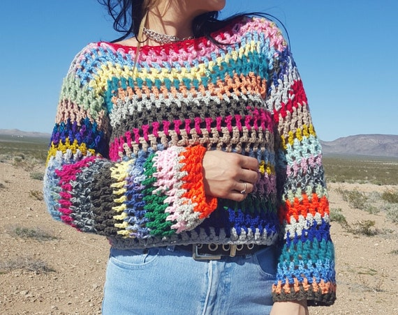Handknit Rainbow Stripe Crochet Sweater - Handmade One of a Kind Candy Striped Multicolor Knit Pullover - Small Medium Ecofriendly Sweater
