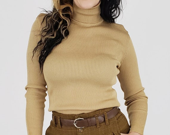 70s Deadstock Vintage Turtleneck Small Medium - 1970s Vtg Tan Sweater with Original Tags - Beige Retro Classic Mod Rib-Knit Long Sleeve Top