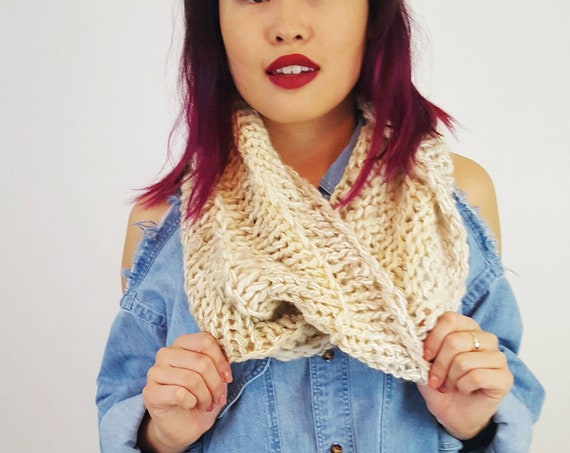 Hand Knit Infinity Cream Off White Circle Scarf - Boho Knitted Fashion Womens Winter Accessory - Soft Warm Ecofriendly Recycled Gift Scarfs