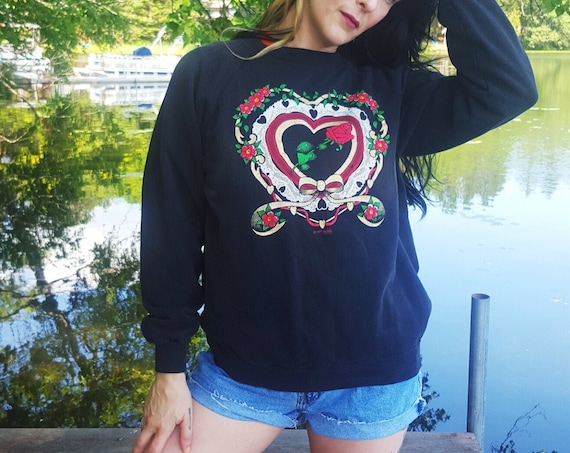 80s Vintage Rose & Doily Pullover Sweatshirt Medium Large  - Soft Cotton 1980s Jumper Sweater - Black Floral Ribbon Heart Graphic Top
