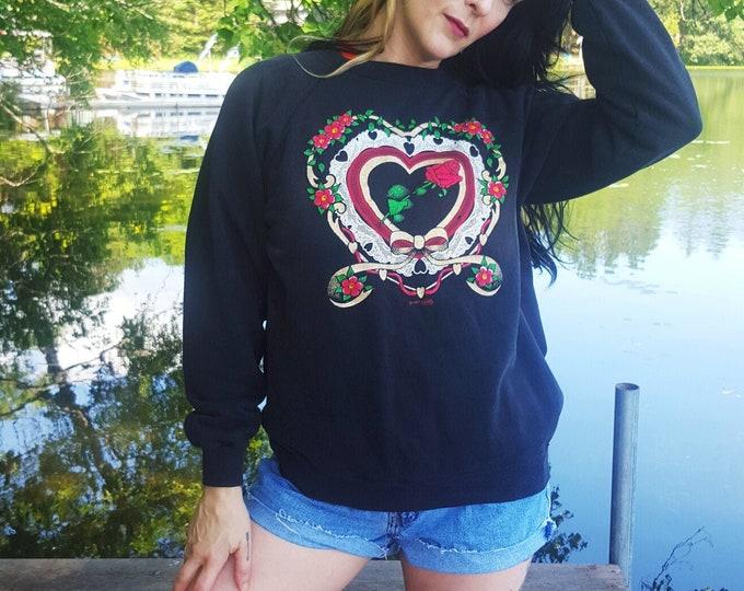 80s Vintage Rose & Doily Pullover Sweatshirt Medium Large  - Soft Cotton 1980s Jumper Sweater - Black Floral Ribbon Heart Graphic Top