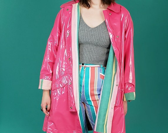90s Vintage Bright Pink Raincoat Medium - Striped Lining Trench Coat Jacket - Womens 1990s Retro Unique Outerwear M