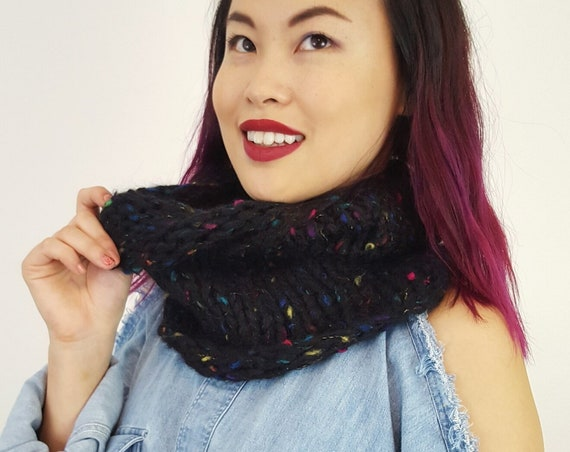Handknit Handmade Black Rainbow Confetti Circle Scarf - Boho Hipster Art Fashion Womens Accessory - Soft Warm Fall Upcycled Yarn Cowl Scarf
