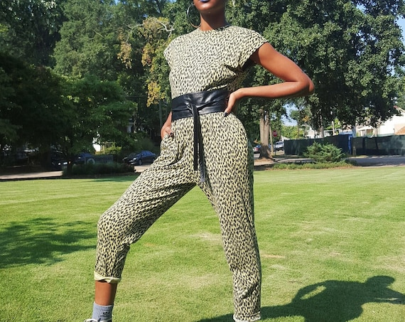 80's Allover Print Jumper Pants Suit Small - Lime Green Jumpsuit Pants One Piece - Vintage Women's Open Back Romper With Pockets