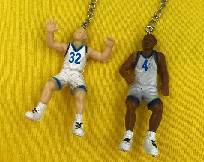 Vintage Statement Earrings - NBA Basketball Novelty Plastic Funky Dangly Chain Earrings - Blue White Team Players FUN Recycled Kawaii Sporty
