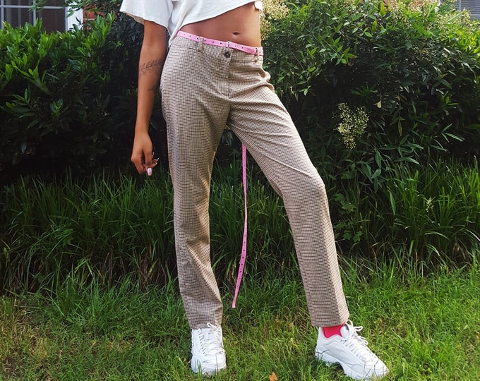 90s 00s Vintage Plaid Pants - Small Medium Womens Tan Light Brown Plaid Pant -Low Mid Waist Vtg Tartan Check Pattern Office Work Trousers