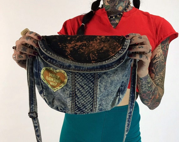 80's Patched Acid Wash Denim Purse Upcycled Hand Stitched DIY Punk Grunge - Beavis & Butthead Vintage Mcdonalds Motorcycle Crossbody Bag