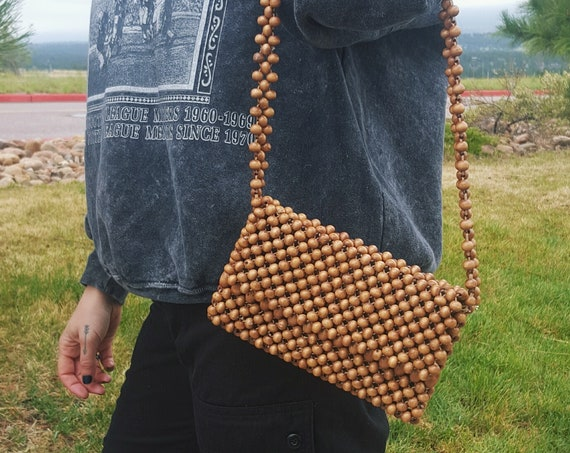 70's Brown Wooden Beaded Purse - Small Natural Tan Shoulder Bag - Mini Size Allover Beads Bag - 1970s Light Brown Wood Beads Handbag