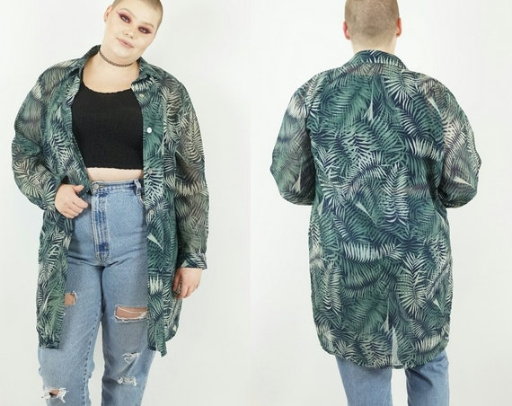 90s Dark Green Palm Leaf Sheer Long Blouse Small Medium - 1990s Vintage See Through Patterned Collared Button Up Natural Tropical Top Dress
