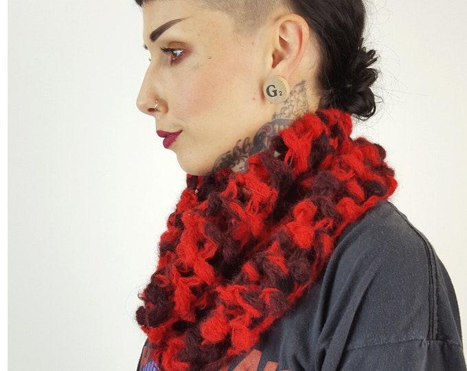 Handknit Red Chunky Circle Scarf - Boho Hipster Art Fashion Womens Accessory - Maroon Burgundy Soft Warm Fall Upcycled Yarn Women Cowl Scarf