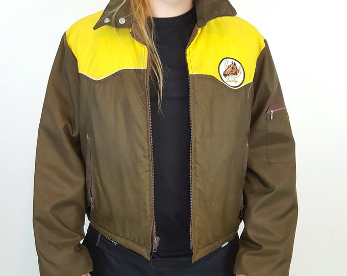 70's Vintage Lucky Horse Coat - Large XL Brown and Yellow 1970s Workwear Jacket  - Collared Zip Up Fall Winter Coat