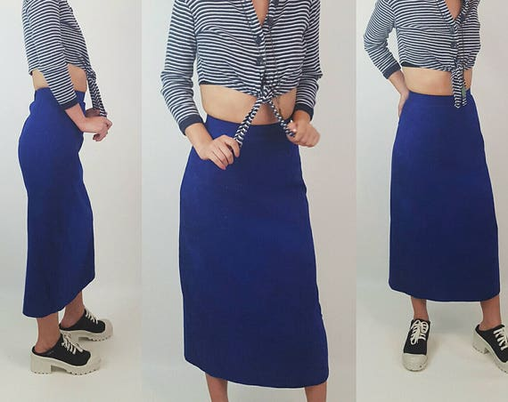 80's Vintage High Waist Suede Midi Skirt Size XXS - Blue Extra Small Pencil Skirt - XS Below the Knee Long Bodycon Vtg Skirt