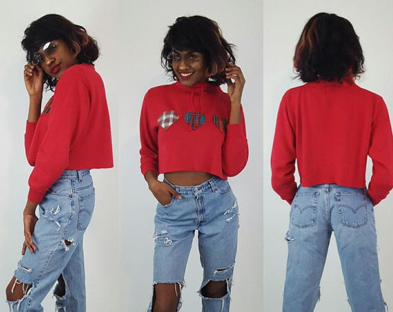 90s Red Plaid Hearts Cropped High Neck Sweatshirt Medium - Long Sleeve Drawstring Crop Top Soft Grunge Mock Turtleneck Raw Hem Fall Sweater