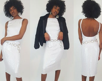 90s Vintage White Sequin Designer Dress Extra Small - Tight Sexy Sequined Open Back Midi Formal Wedding Chic Cocktail Dress