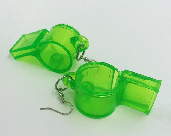 Clear Neon Green Whistles Fun Plastic Statement Earrings - Oversized Trendy Costume Jewelry Giant Dangly Earrings - Weird Jewelry Handmade