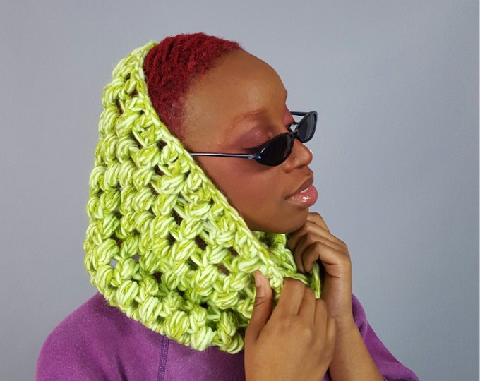 Hand Crochet Neon Green Cowl Scarf -  Colorful Winter Hipster Fashion Womens Accessory - Soft Warm Fall Womens Wool Fuzzy Cowl Scarf