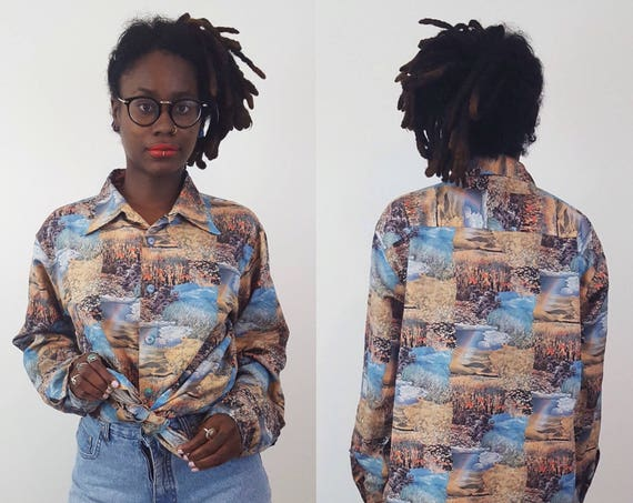 70s Vintage Landscape Photo Print Blouse - Medium Large 1970s Vtg Long Sleeve Button Up Top - Retro Pattern Polyester Mens Womens Shirt