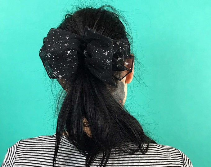 80's Giant Black Silver Stars Hair Bow French Clip - Big Hair Bow Clip Hip Statement Glam Hair Accessory - FUN Glittery Printed Hair Clip
