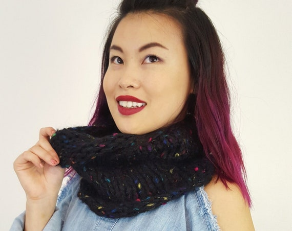 Handknit Handmade Black Rainbow Confetti Circle Scarf - Boho Hipster Art Fashion Womens Accessory - Soft Warm Fall Upcycled Yarn Cowl Scarf