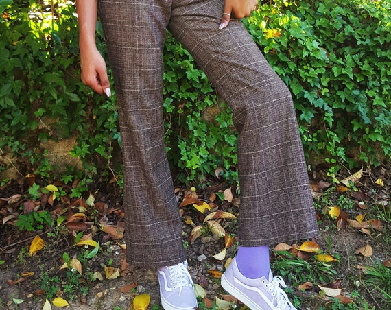 90s 00s Vintage Plaid Pants - Small Womens Brown Wool Plaid Pant - Low-Mid Waist Vtg Tartan Check Pattern Bootcut Trousers
