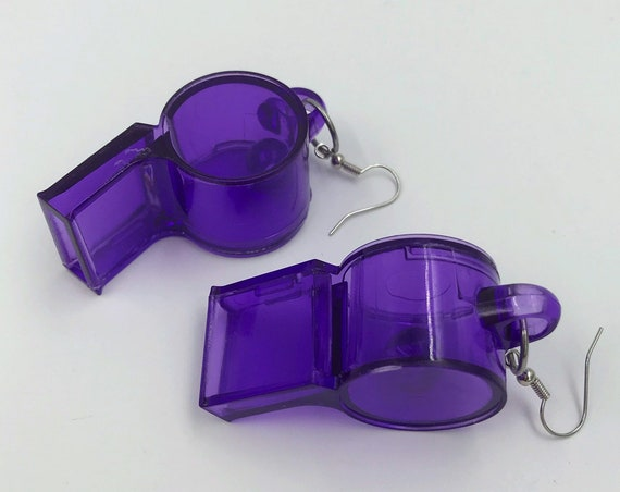 Clear Purple Whistles Fun Plastic Statement Earrings - Oversized Trendy Costume Jewelry Giant Dangly Earrings - Cute Toy Jewelry Handmade