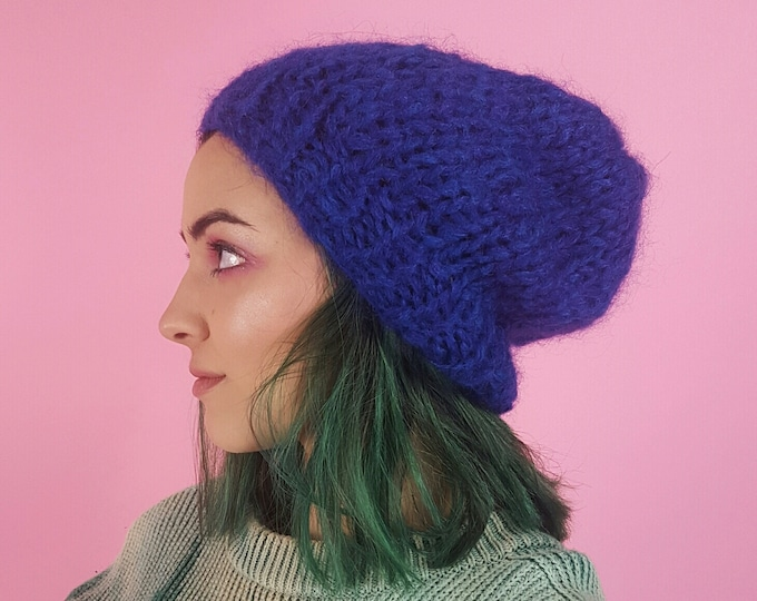 Handknit Handmade Purple Fuzzy Slouchy Hat - Recycled Ecofashion Accessories - Soft Warm Winter Fall Upcycled Yarn Mohair Beanie Hat